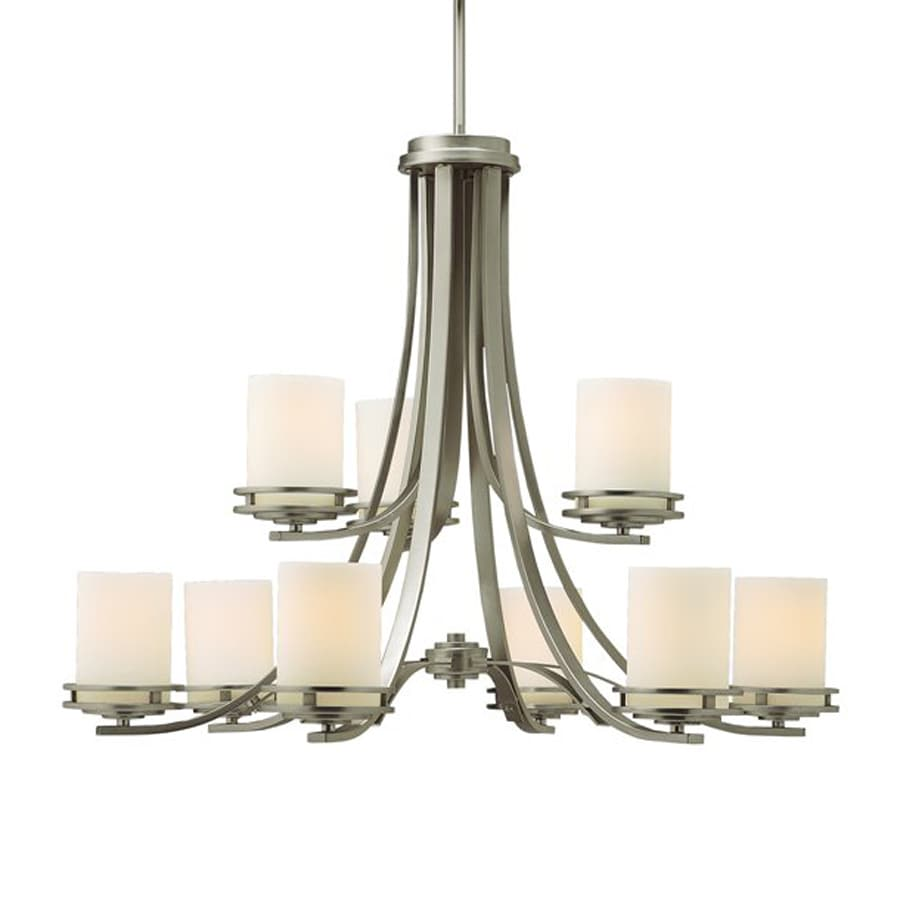 Kichler Lighting Hendrik 33.25-in 9-Light Brushed Nickel Etched Glass Tiered Chandelier