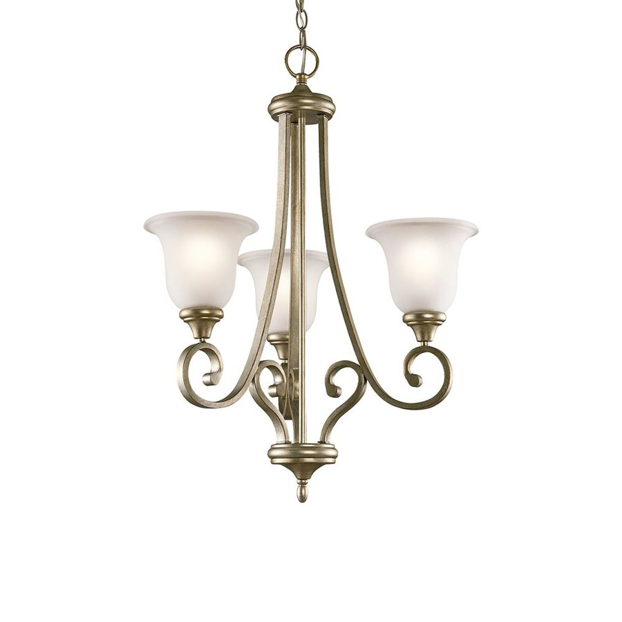 Kichler Monroe 23-in 3-Light Sterling gold Vintage Etched Glass Shaded Chandelier
