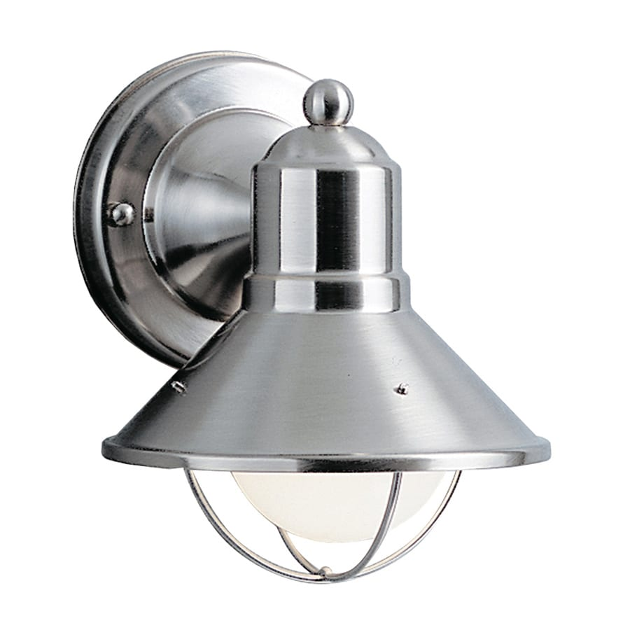 seaside 7 5 in h brushed nickel outdoor wall light at. Black Bedroom Furniture Sets. Home Design Ideas