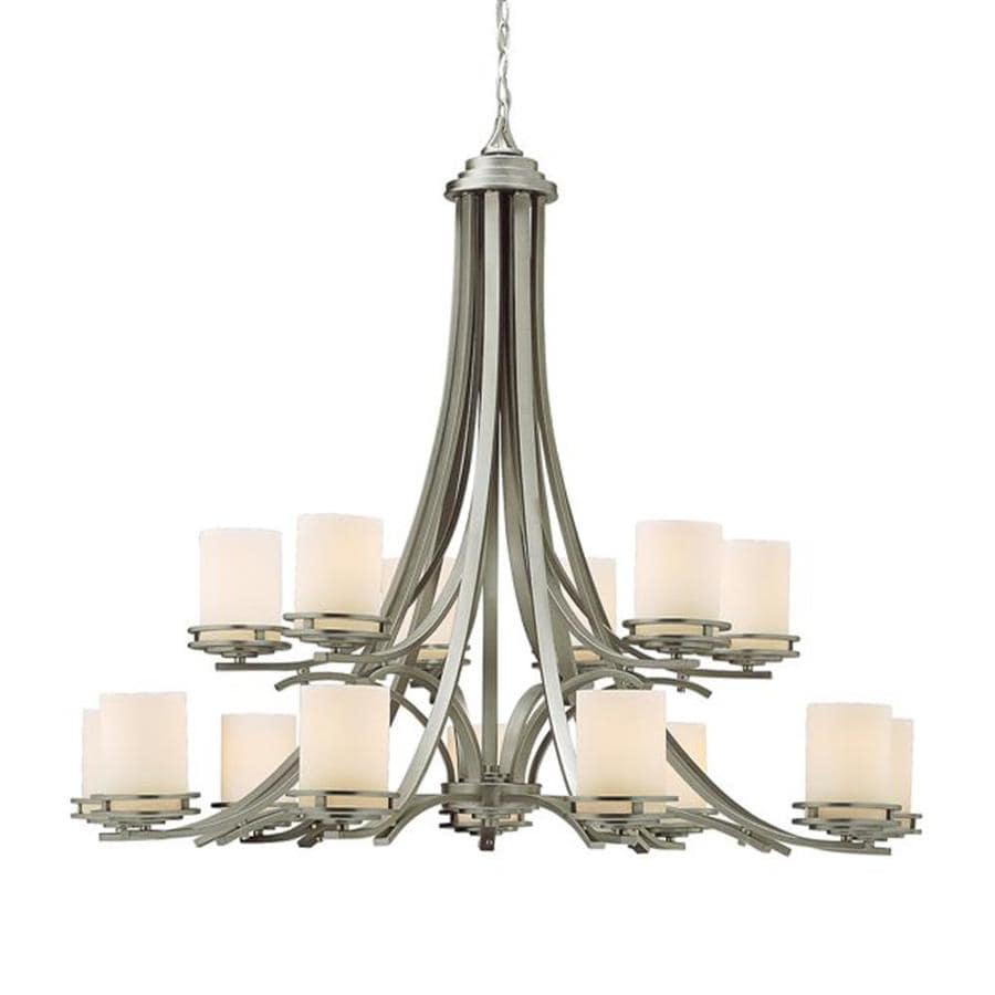 Kichler Hendrik 42.25-in 15-Light Brushed Nickel Etched Glass Tiered Chandelier