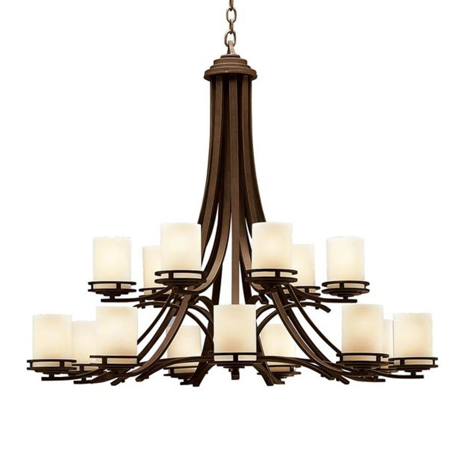 Kichler Hendrik 42.25-in 15-Light Olde Bronze Craftsman Etched Glass Tiered Chandelier