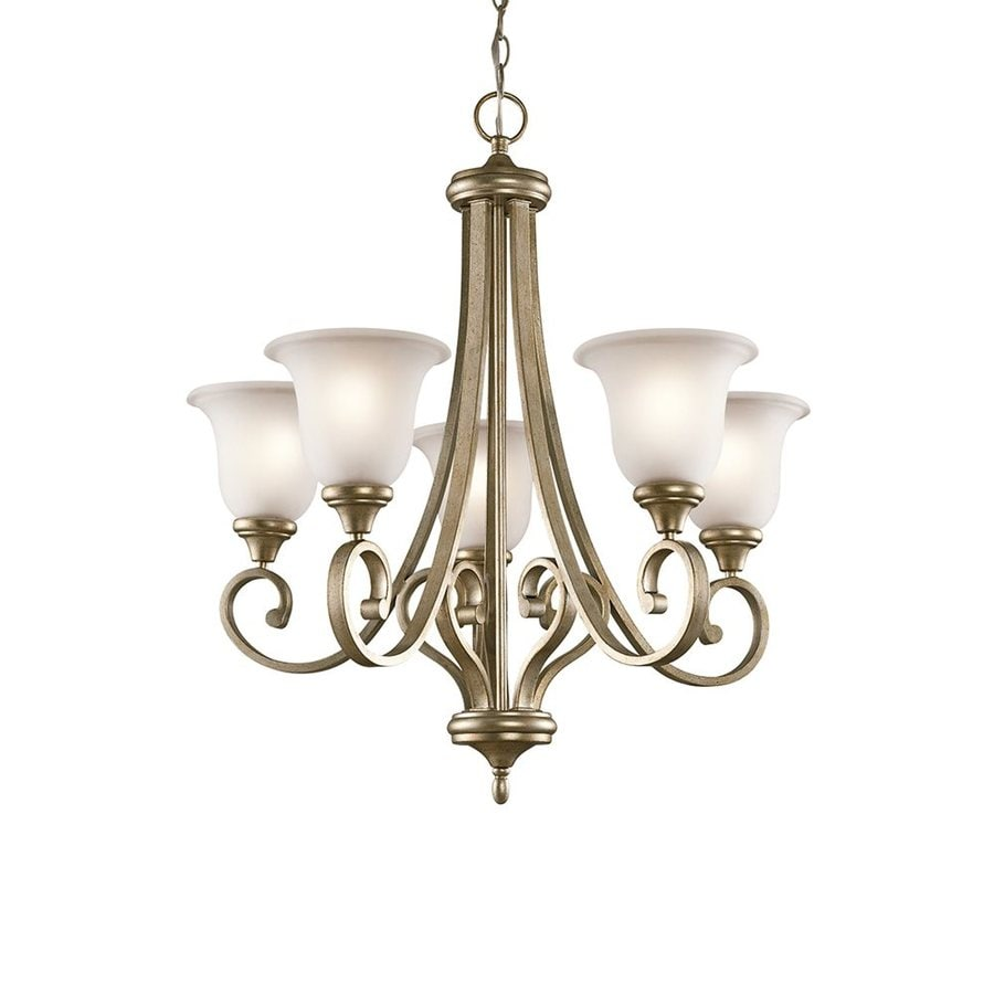 Kichler Lighting Monroe 27.5-in 5-Light Sterling Gold Vintage Etched Glass Shaded Chandelier