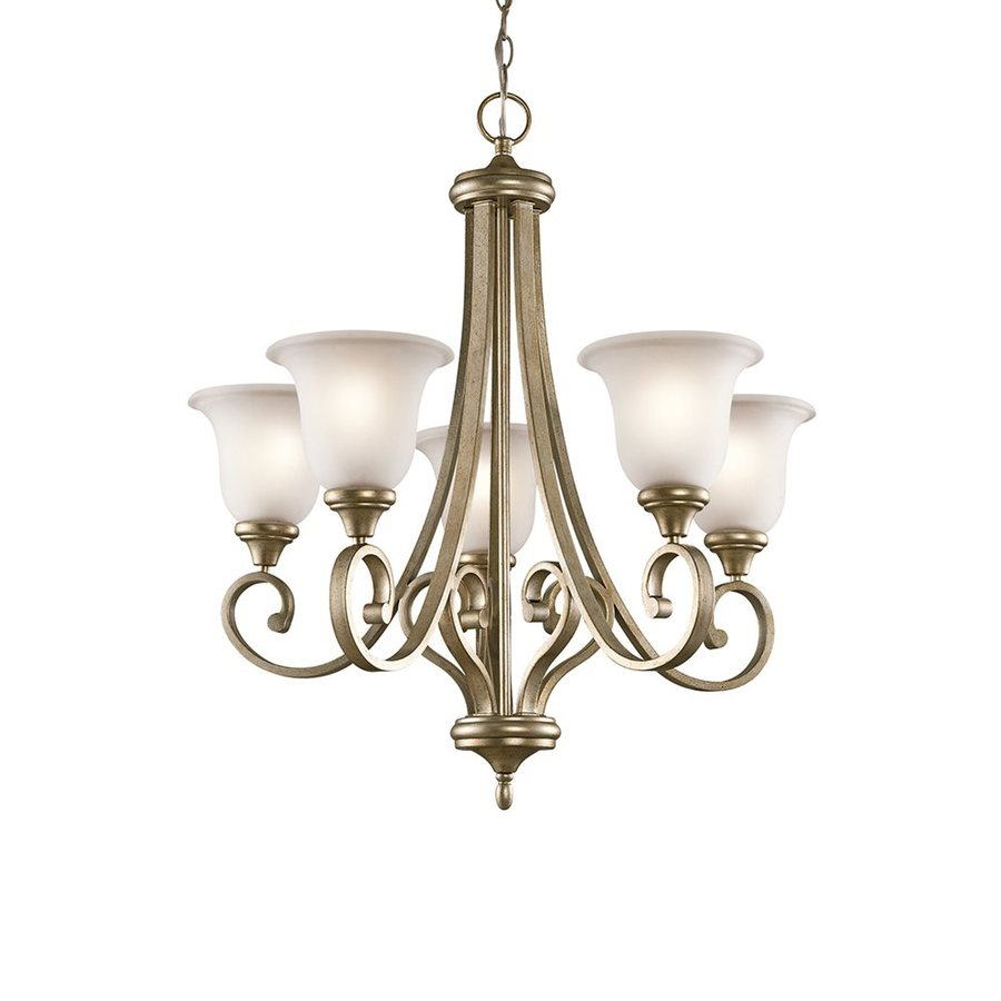 Kichler Monroe 27.5-in 5-Light Sterling gold Vintage Etched Glass Shaded Chandelier