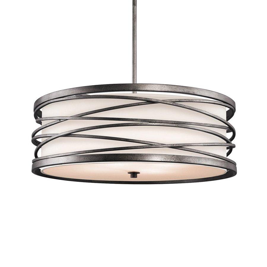 Kichler Lighting Krasi 24-in Warm Bronze Craftsman Hardwired Single Drum Pendant