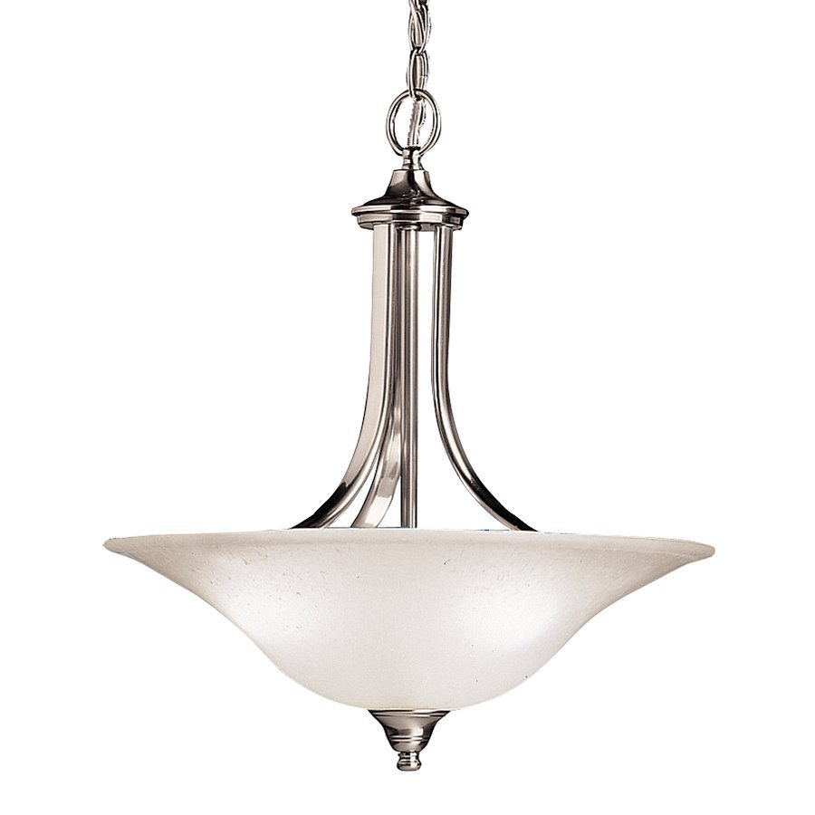 Kichler Lighting Dover 17.75-in Brushed Nickel Hardwired Single Seeded Glass Bowl Pendant