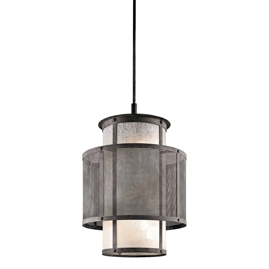 Kichler Lighting Argesto 18.5-in Weathered Zinc Craftsman Single Textured Glass Cylinder Pendant