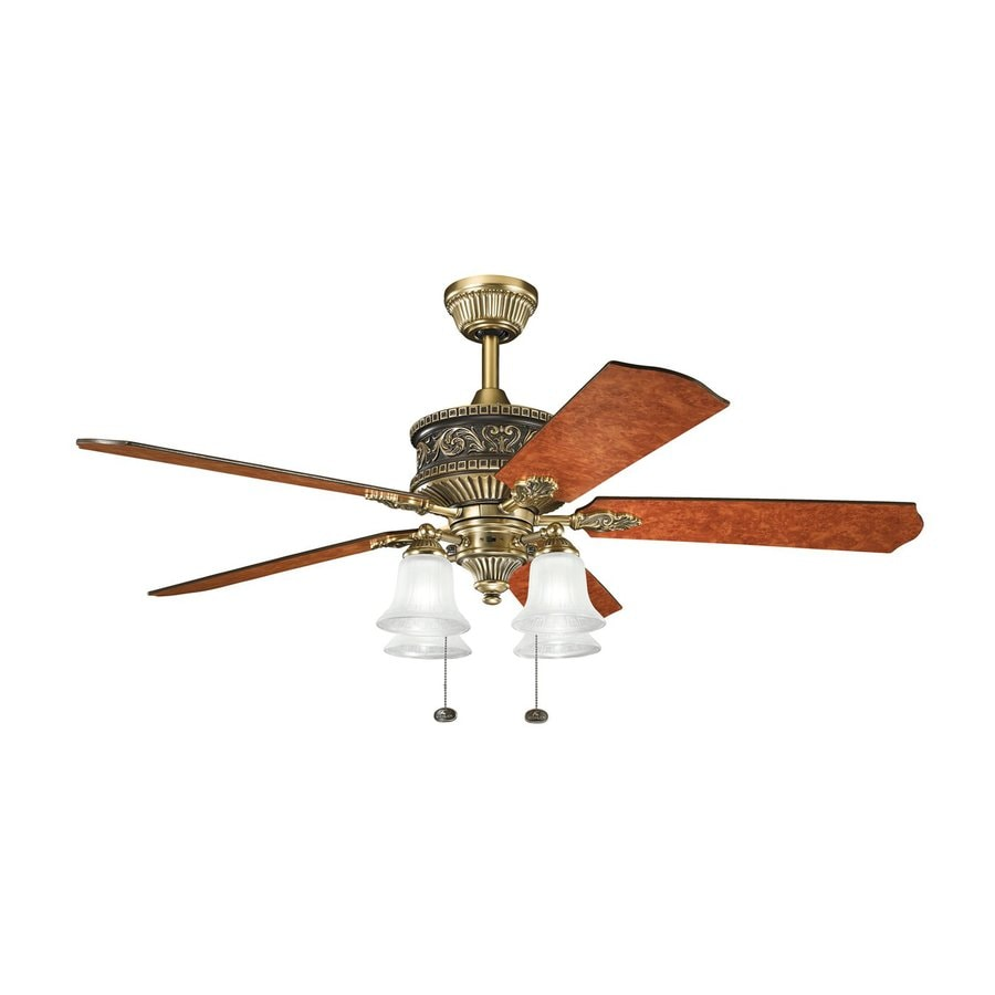 Kichler Corinth 52-in Burnished Antique Brass Downrod or Close Mount Indoor Residential Ceiling Fan with Light Kit (5-Blade)