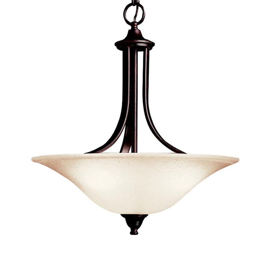 Kichler Dover 17.75-in Tannery Bronze Hardwired Single Seeded Glass Bowl Pendant