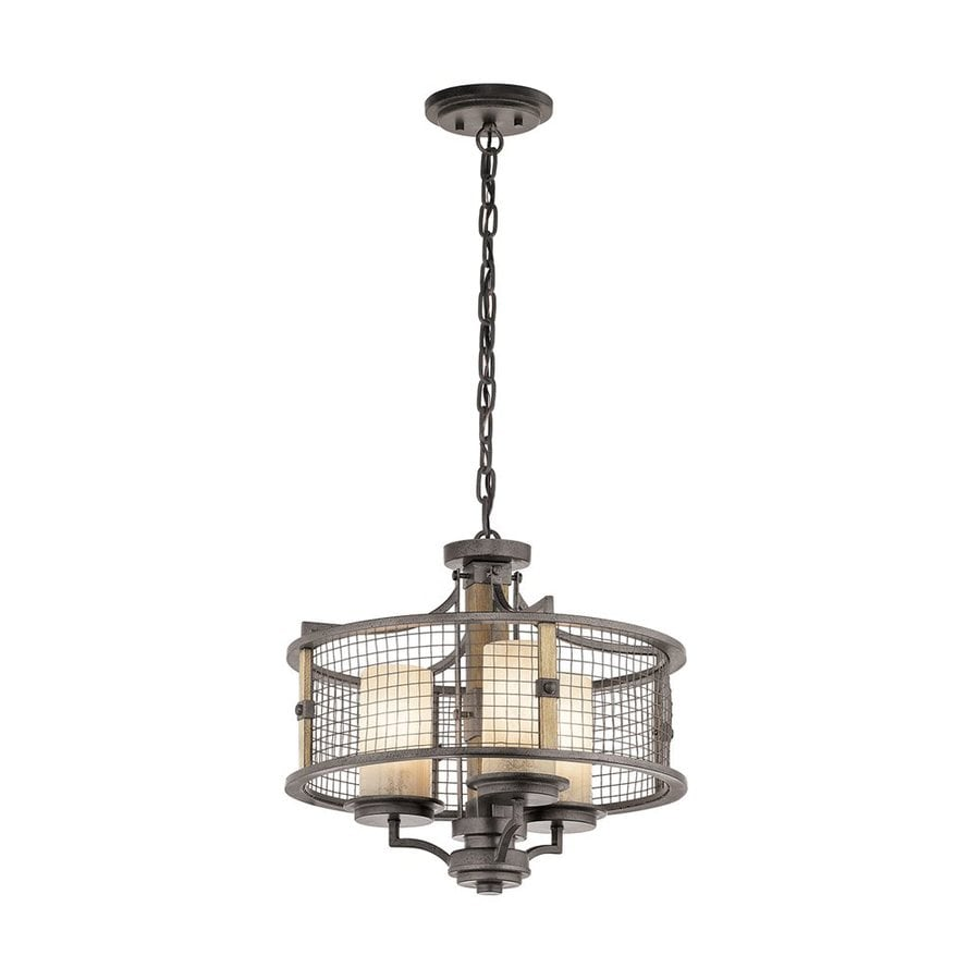Kichler Ahrendale 17.75-in Anvil Iron Rustic Hardwired Single Textured Glass Drum Pendant