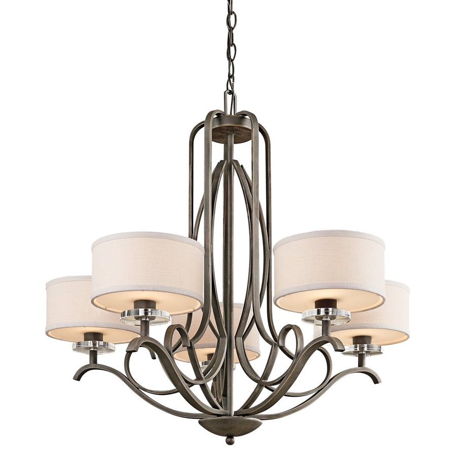 Kichler Leighton 31-in 5-Light Olde Bronze Wrought Iron Shaded Chandelier