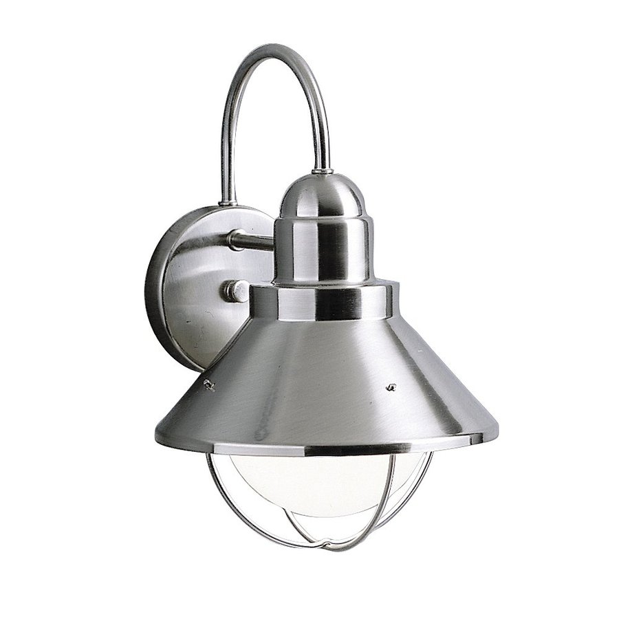 Shop Kichler Seaside 14.25-in H Brushed Nickel Dark Sky Outdoor Wall Light at Lowes.com
