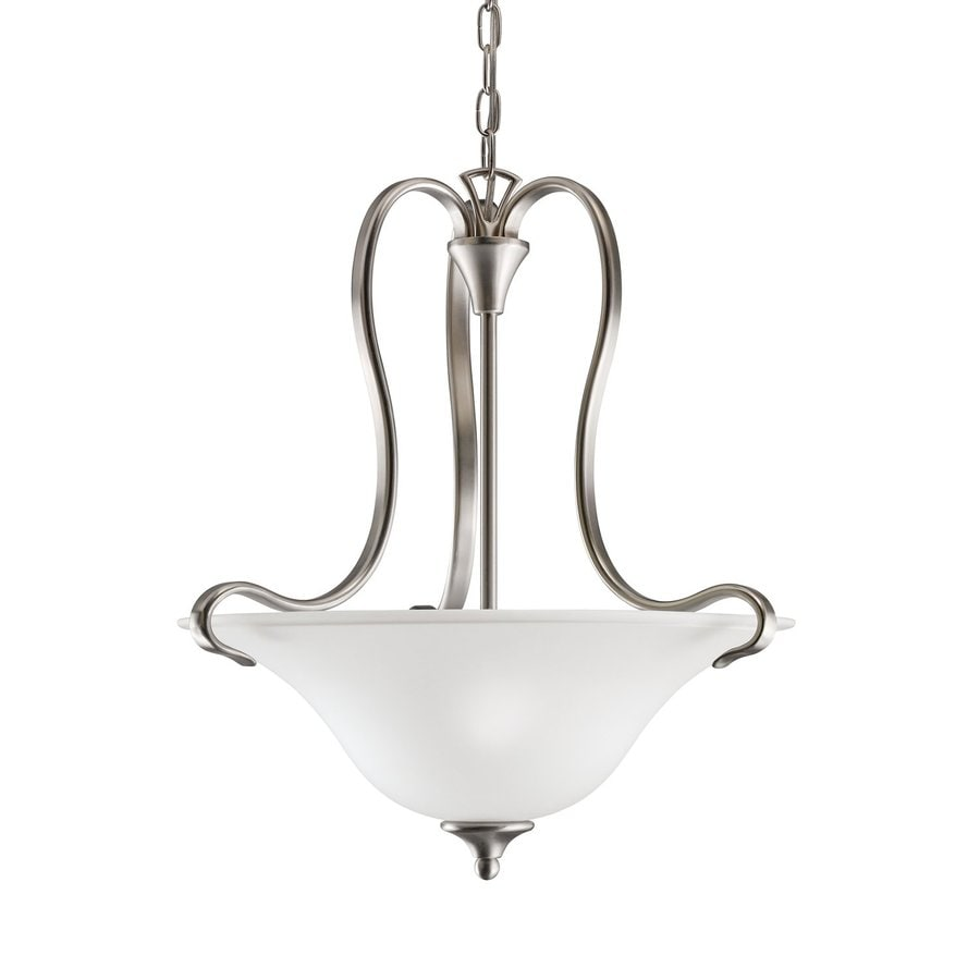 Kichler Wedgeport 19.25-in Brushed Nickel Vintage Single Etched Glass Bowl Pendant