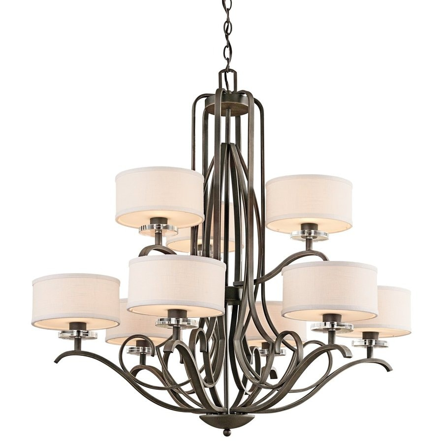 Kichler Lighting Leighton 36-in 9-Light Olde Bronze Wrought Iron Shaded Chandelier