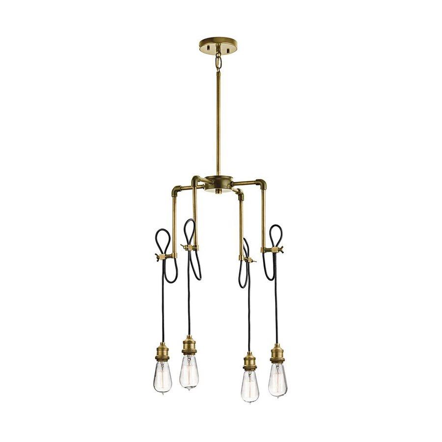 Kichler Rumer 17.5-in 4-Light Natural Brass Industrial Hardwired Draped Chandelier