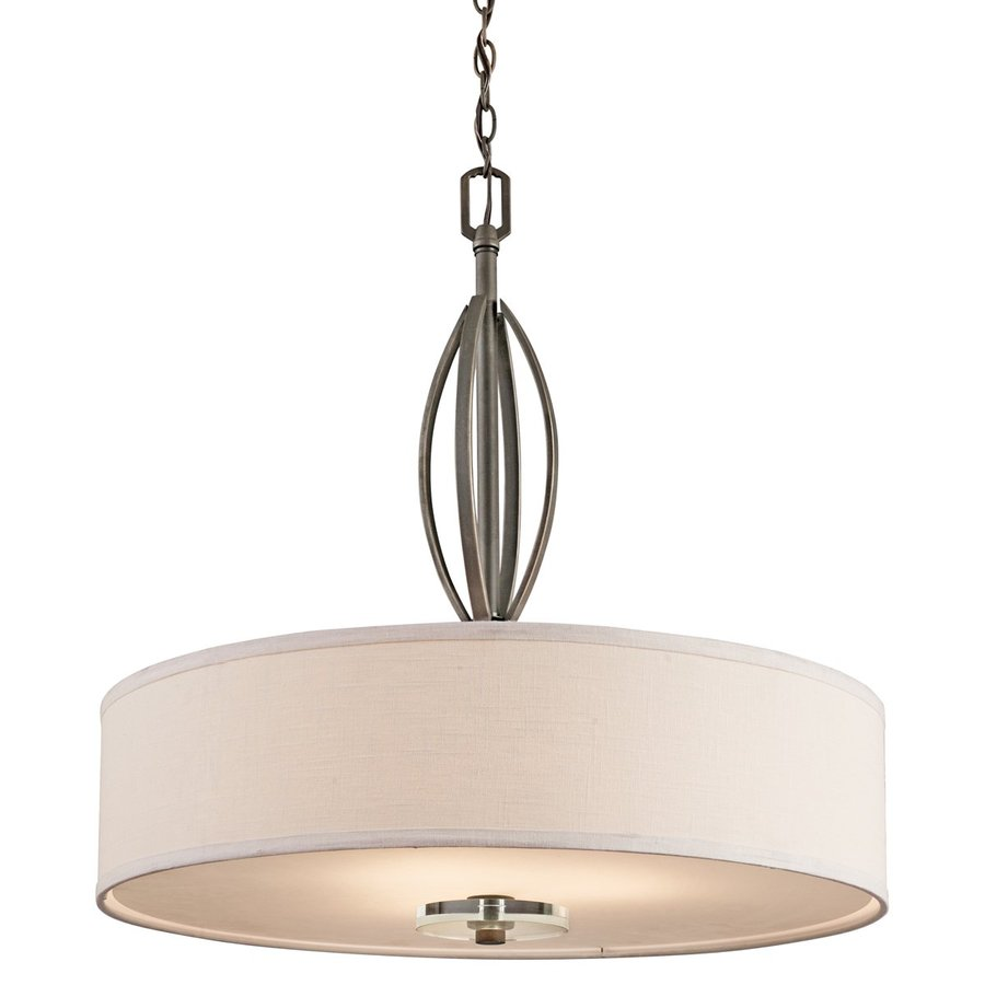 Kichler Lighting Leighton 26-in Olde Bronze Hardwired Single Etched Glass Drum Pendant