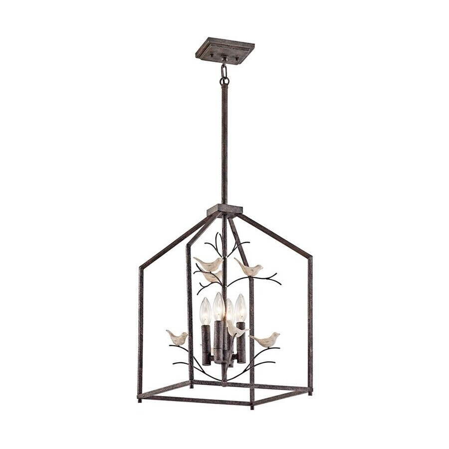 Kichler Tippi 13-in Rust Rustic Hardwired Single Cage Pendant