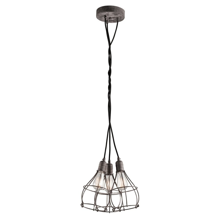 Kichler Industrial Cage 15.25-in Weathered Zinc Industrial Hardwired Multi-Light Cage Pendant