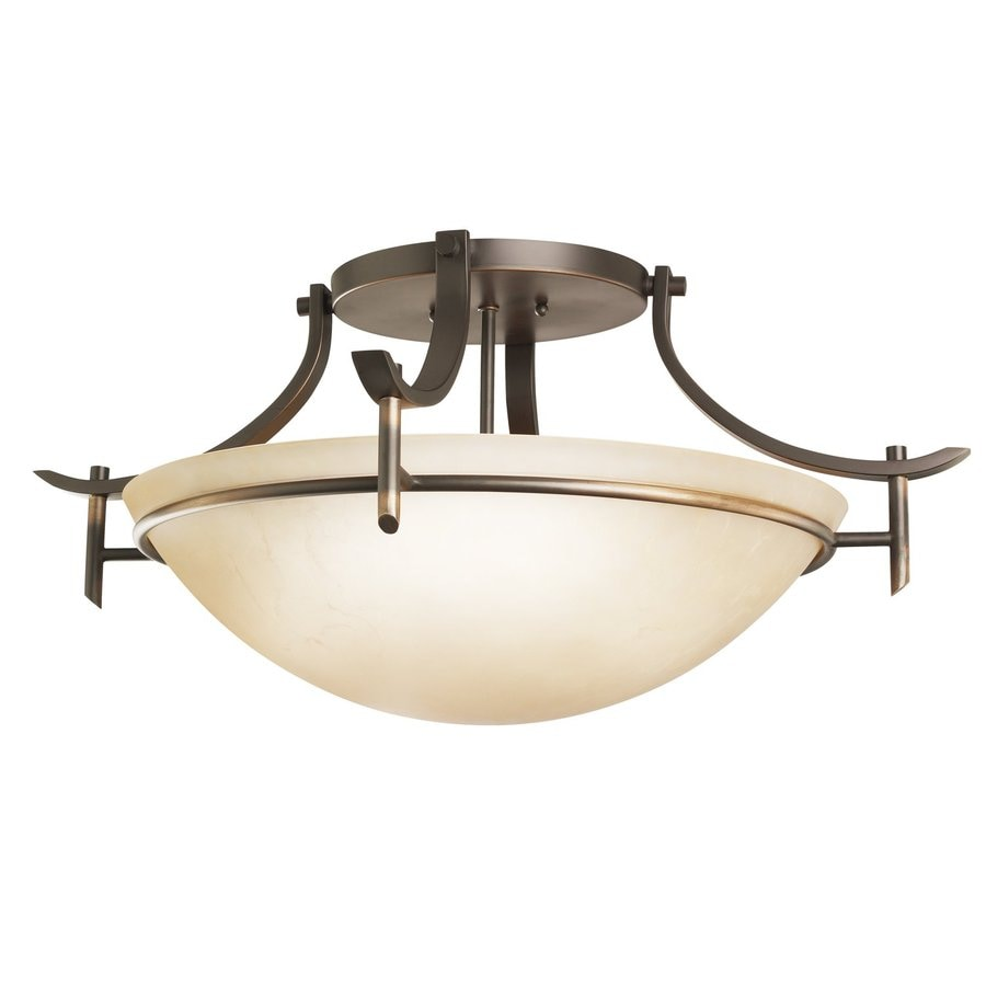 Kichler Olympia 24-in W Olde Bronze Etched Glass Semi-Flush Mount Light