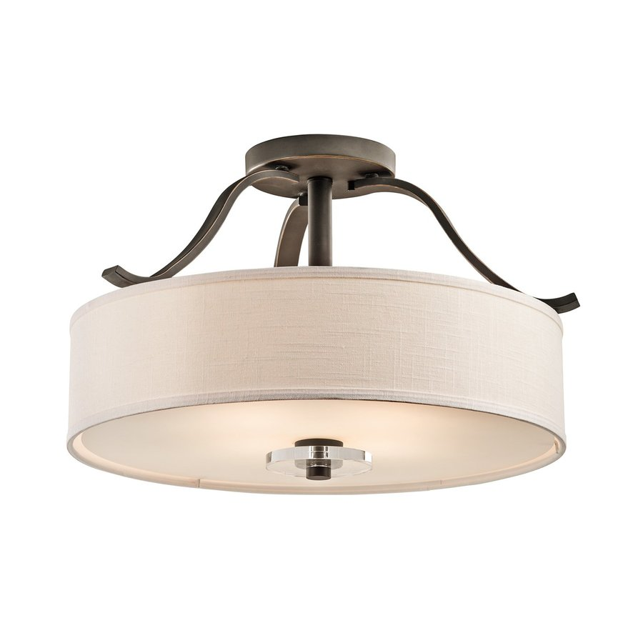 Kichler Lighting Leighton 22-in W Olde Bronze Etched Glass Semi-Flush Mount Light