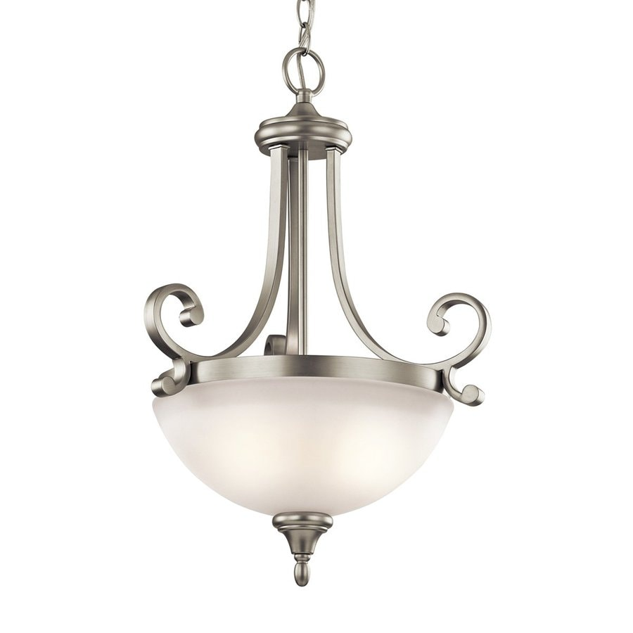 Kichler Monroe 17.5-in Brushed Nickel Country Cottage Hardwired Single Etched Glass Bowl Pendant