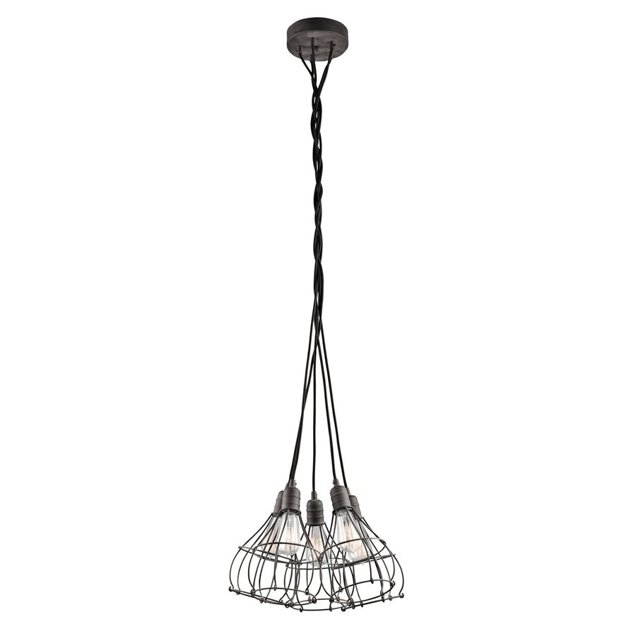 Kichler Industrial Cage 16.75-in Weathered Zinc Industrial Hardwired Multi-Light Cage Pendant