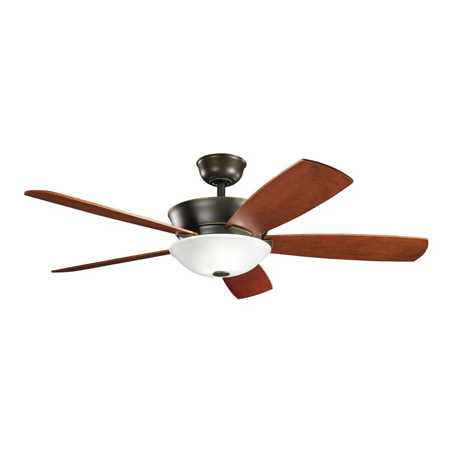 Kichler Skye 54-in Oiled Bronze Downrod Mount Indoor Residential Ceiling Fan with Light Kit and Remote (5-Blade)