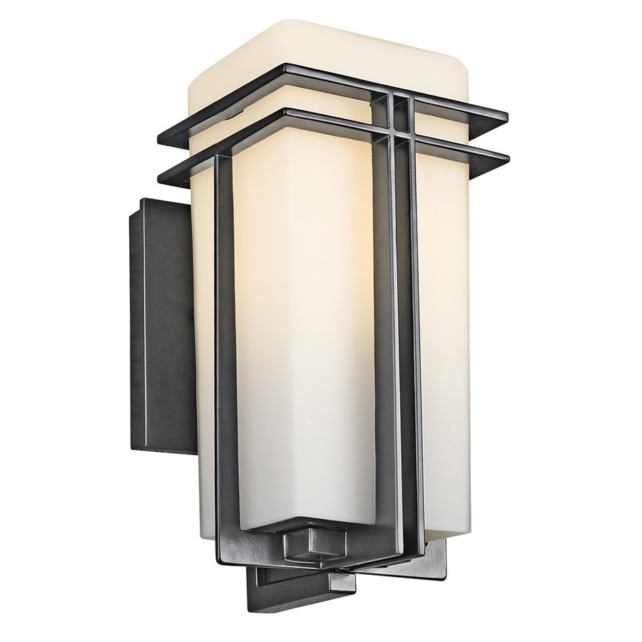 Shop kichler tremillo h black outdoor wall light for Outdoor lighting
