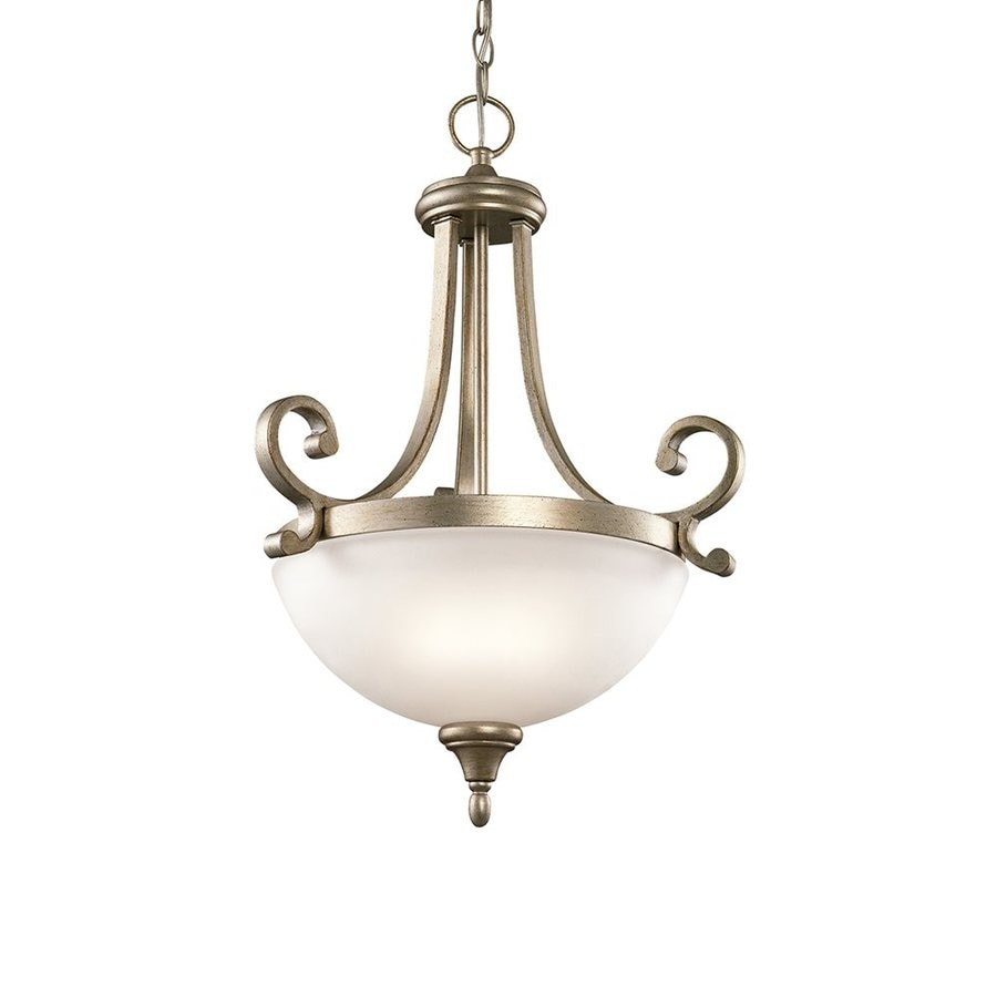 Kichler Lighting Monroe 17.5-in Sterling Gold Country Cottage Hardwired Single Etched Glass Bowl Pendant