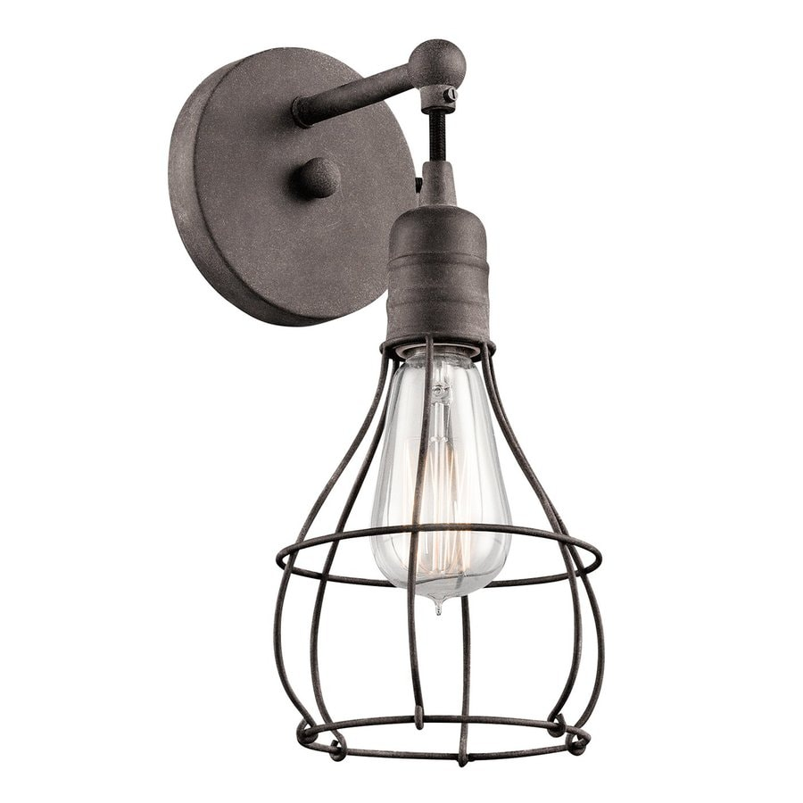 Zinc Wall Sconces : Shop Kichler Industrial Cage 5.5-in W 1-Light Weathered Zinc Directional Wall Sconce at Lowes.com