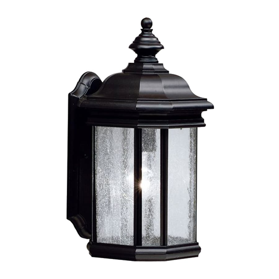 Shop kichler kirkwood 17 in h black outdoor wall light at for Outdoor living kirkwood