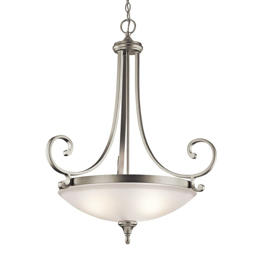 Kichler Monroe 26.75-in Brushed Nickel Country Cottage Hardwired Single Etched Glass Bowl Pendant