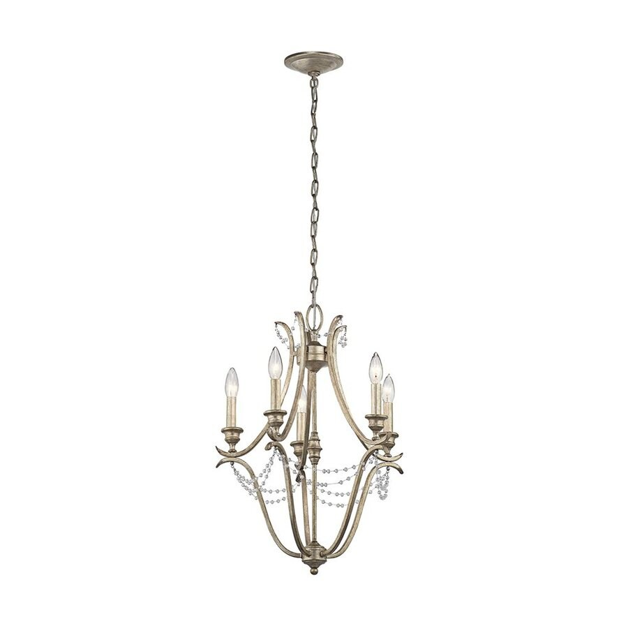 Kichler Abellona 18-in 5-Light Sterling Gold Vintage Candle Chandelier