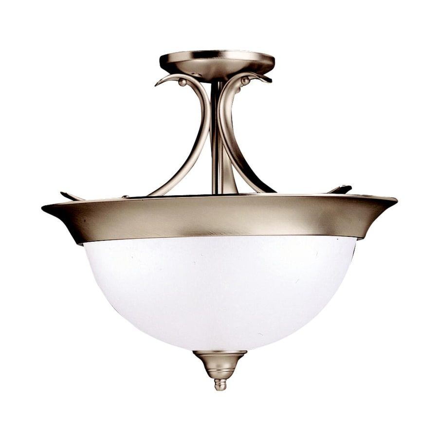 Kichler Lighting Dover 15.25-in W Brushed Nickel Etched Glass Semi-Flush Mount Light