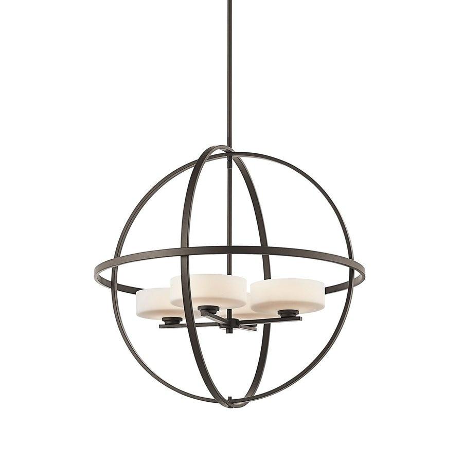 Kichler Lighting Olsay 28.75-in 4-Light Olde Bronze Etched Glass Globe Chandelier