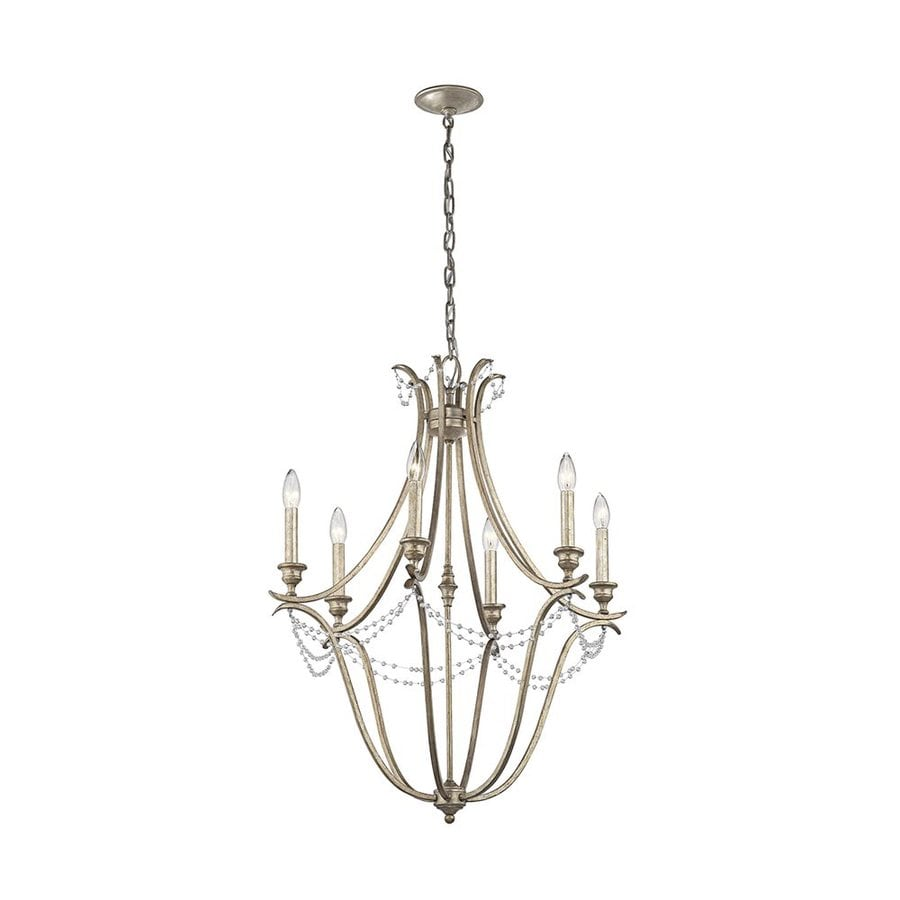 Kichler Abellona 25-in 6-Light Sterling gold Vintage Candle Chandelier