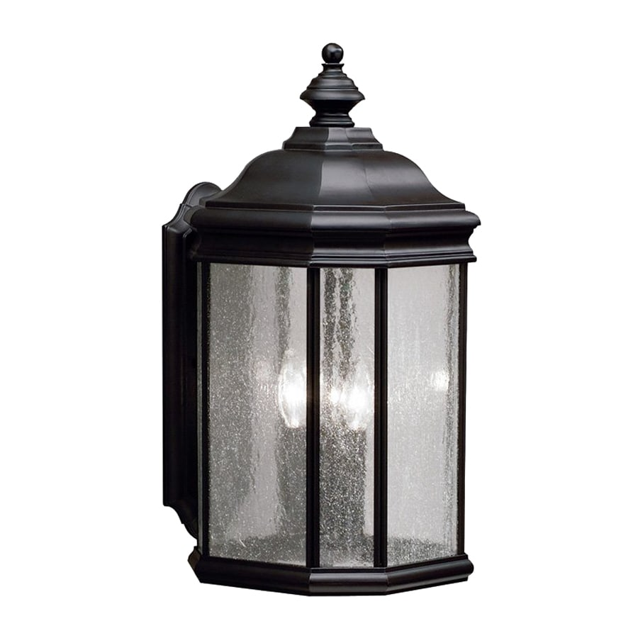 Shop kichler kirkwood 21 in h black outdoor wall light at for Outdoor living kirkwood