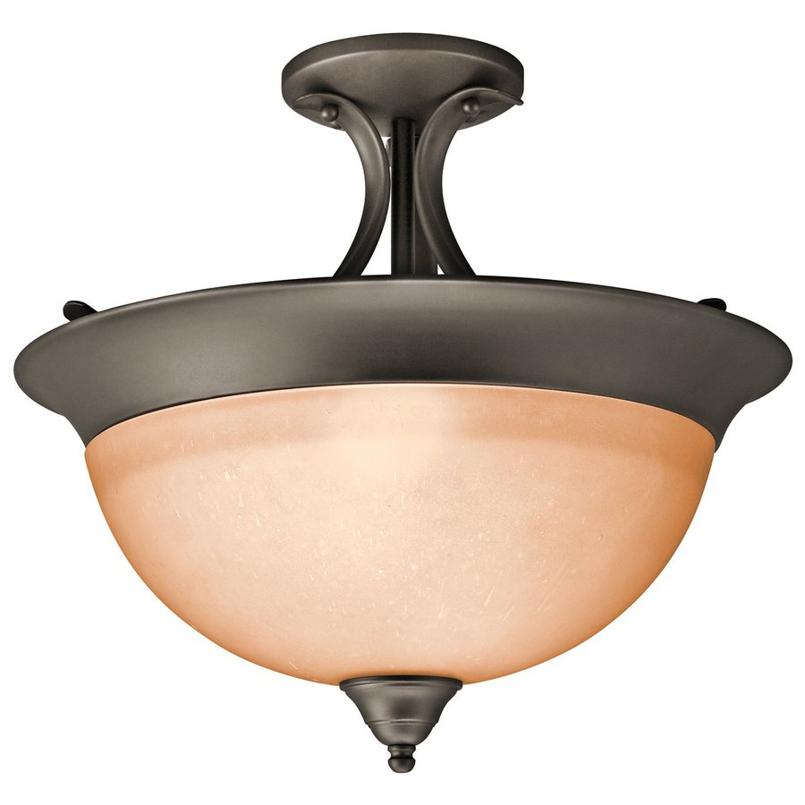 Kichler 15.25-in W Olde Bronze Etched Glass Semi-Flush Mount Light