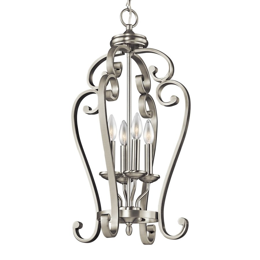 Kichler Monroe 15-in Brushed Nickel Country Cottage Hardwired Single Cage Pendant