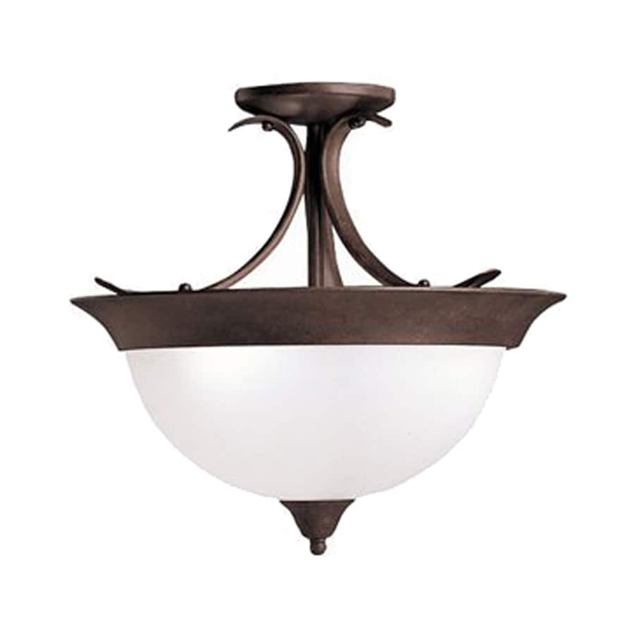 Kichler Dover 15.25-in W Tannery Bronze Etched Glass Semi-Flush Mount Light