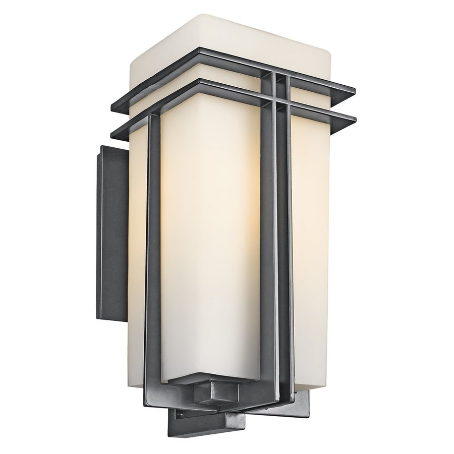 Shop kichler tremillo h black outdoor wall light for Exterieur lighting