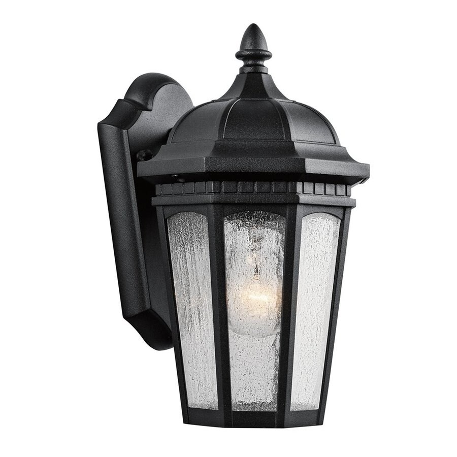 Kichler Courtyard 11-in H Textured Black Outdoor Wall Light