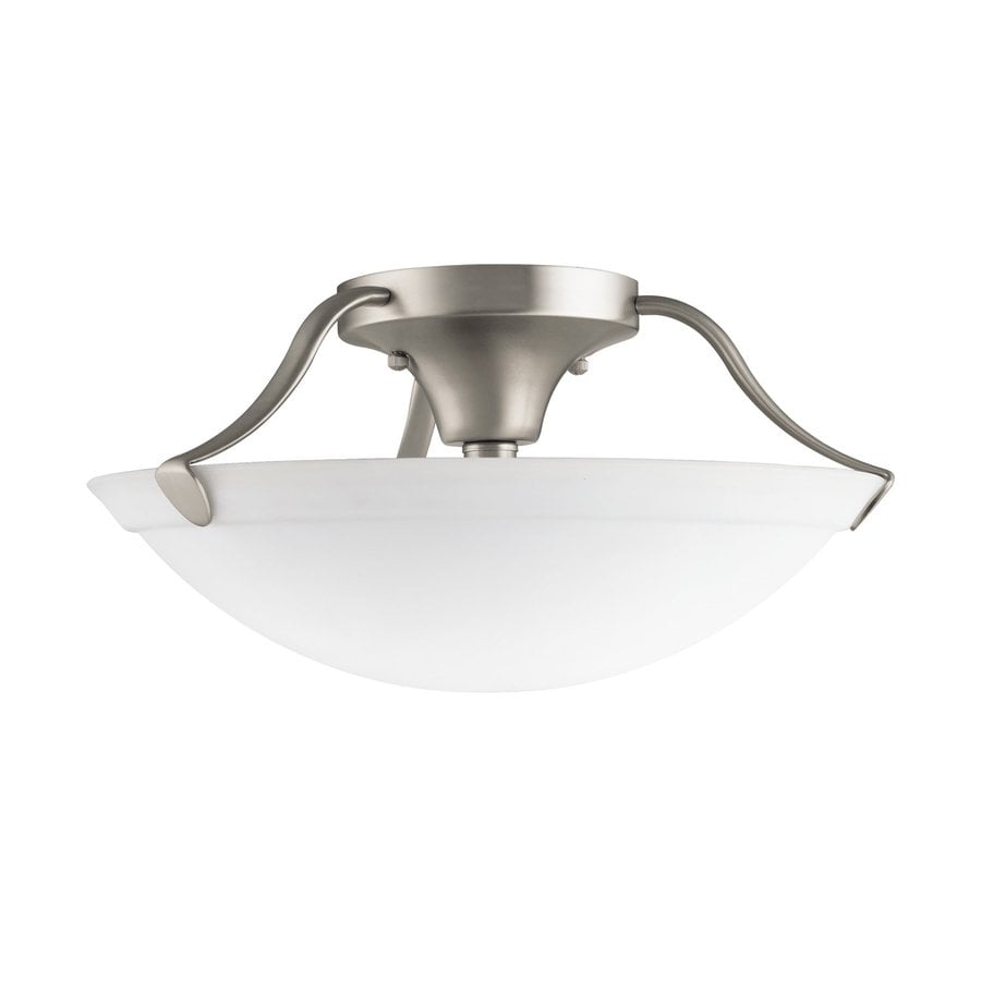 lighting 15 in w brushed nickel etched glass semi flush mount light