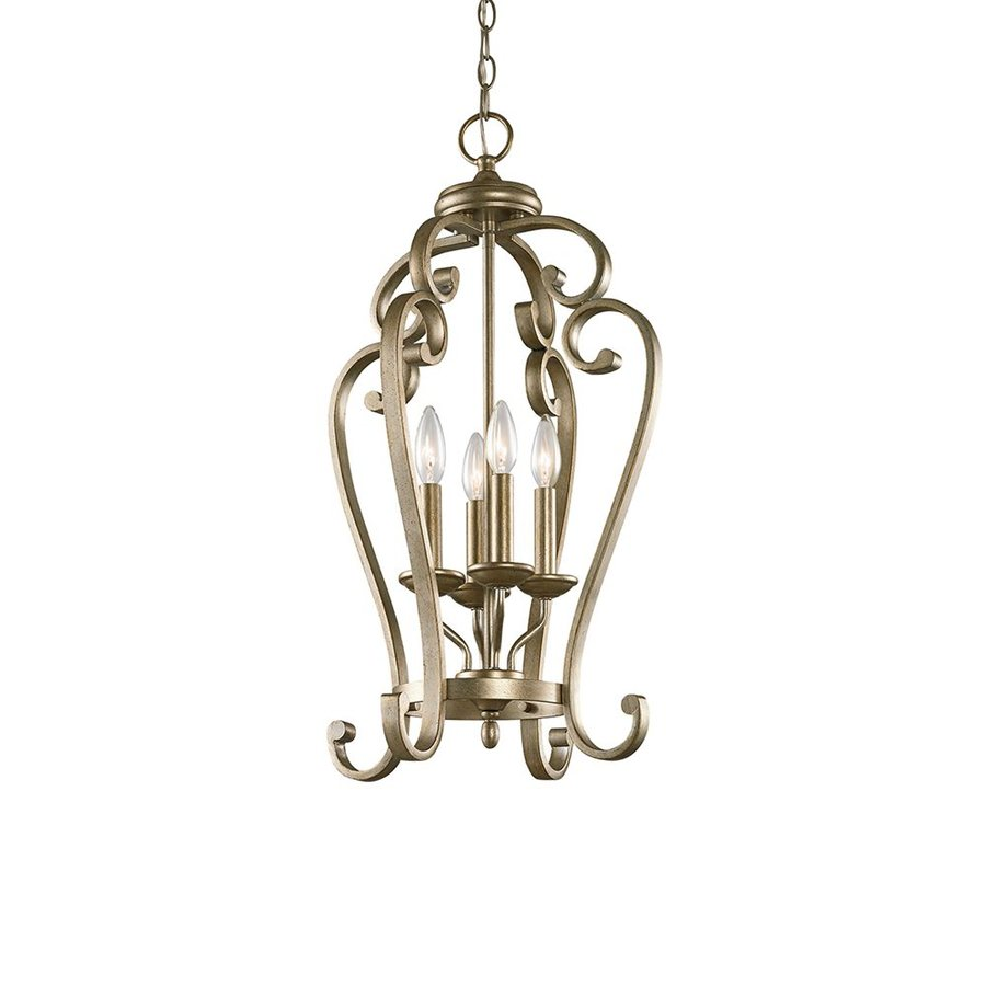 Kichler Monroe 15-in Sterling Gold Country Cottage Hardwired Single Cage Pendant