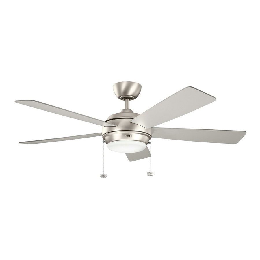 Shop kichler starkk 52 in brushed nickel standard indoor residential kichler starkk 52 in brushed nickel standard indoor residential downrod mount ceiling fan with light aloadofball Choice Image