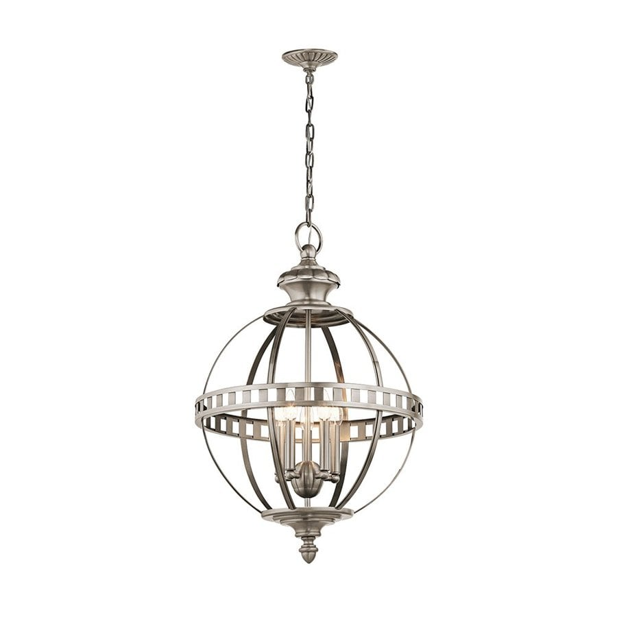 Kichler Lighting Halleron 20-in Classic Pewter Vintage Hardwired Single Globe Pendant