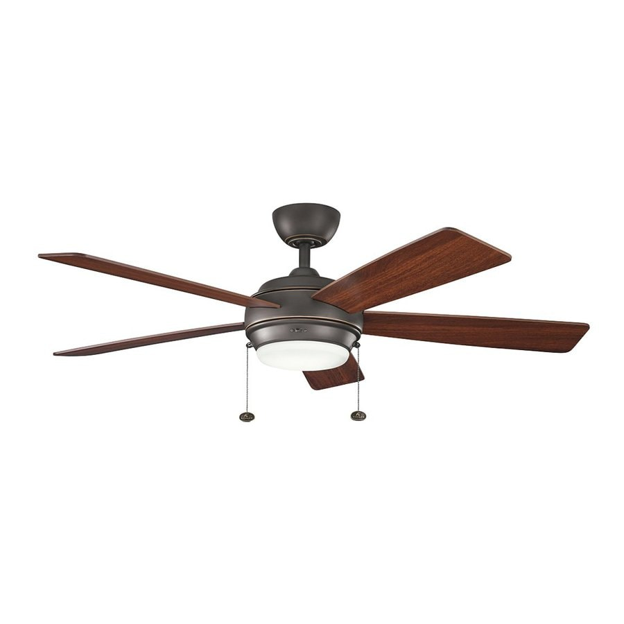 Kichler Lighting Starkk 52-in Olde Bronze Downrod Mount Indoor Ceiling Fan with Light Kit (5-Blade)