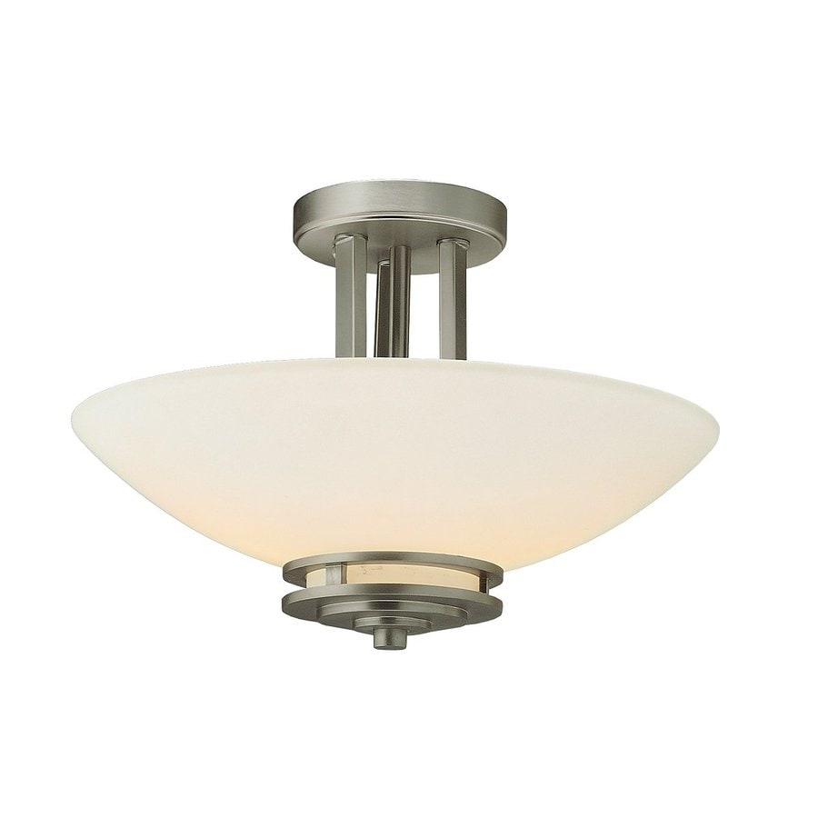 Kichler Lighting Hendrik 15-in W Brushed Nickel Etched Glass Semi-Flush Mount Light