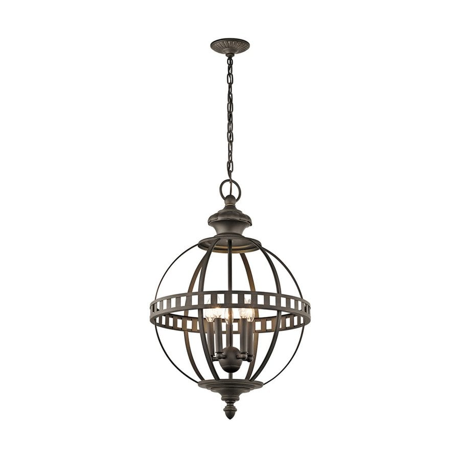 Kichler Lighting Halleron 20-in Olde Bronze Vintage Hardwired Single Globe Pendant
