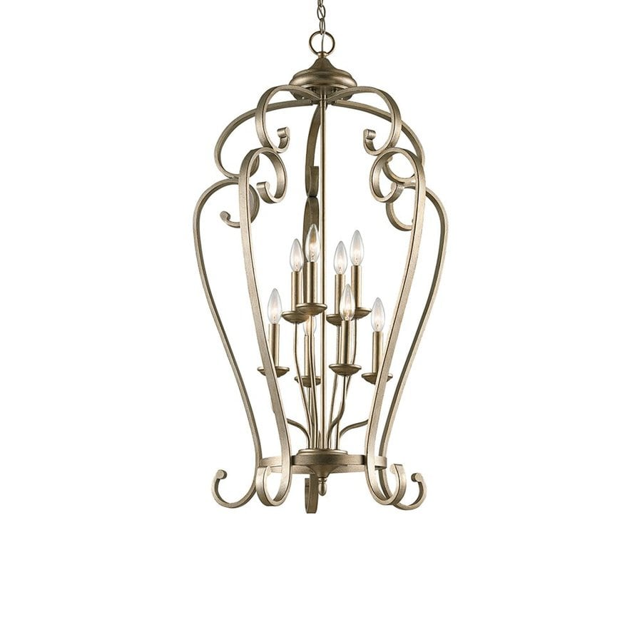 Kichler Lighting Monroe 23-in Sterling Gold Country Cottage Hardwired Single Cage Pendant