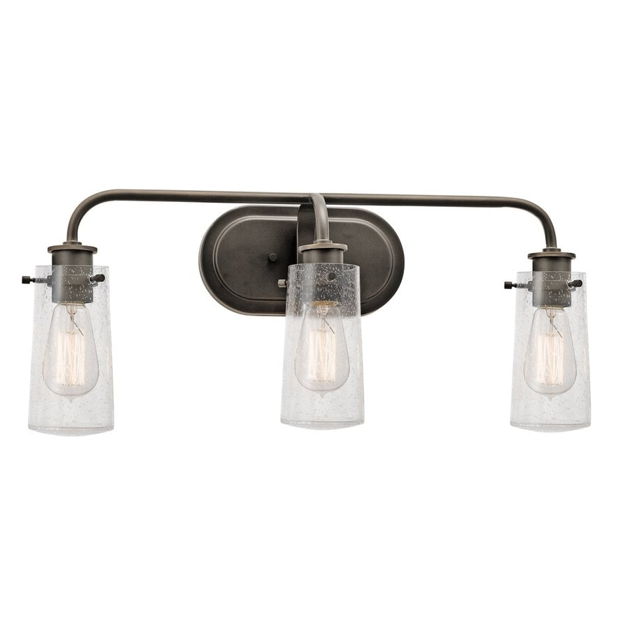 Shop kichler braelyn 3 light 10 in olde bronze jar vanity for Bathroom 3 light fixtures